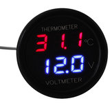 Auto LED Digitale Red & Blue Display 2 in 1 Doppel Spannungsmesser Thermometer 12V