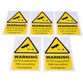 5pcs amarelas de advertência janela etiquetas sinais CCTV decalque em operação