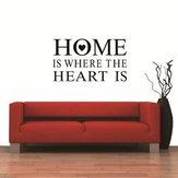 Casa é onde o coração é citações adesivos de parede removível pvc zy8123