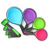 8pcs Silicone Colourful copos de medição colapsável colheres cozinha ferramenta creme Gadget de cozinha