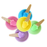 Plastic Children Ice Cream Waffle Cone Bowls Spoons Cups Set Creative Bar Tools Freezer Accessories