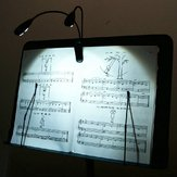 2 Dual Arms 4 LED Flexible Book Music Stand Clip On Light Lamp Black