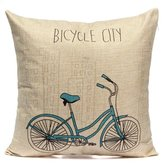 Cotton Linen Pillowcase Bicycle Pattern Home Car Seat Pillow Cover