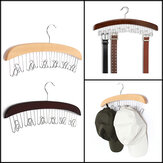 Multifunction Hardwood Belt Tie Cap Hanger With 12Pcs Chrome Hook Closet Hook