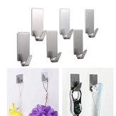 6pcs Edelstahl Adhesive Kleiderbügelhaken Wandtürhaken Badezimmer Handtuchhalter