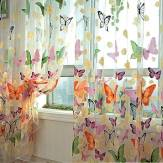 Butterfly Printed Sheer gordijnen Tulle Deurraam Screen