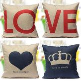 Love Series Pillow Case Decor Cotton Linen Cushion Cover Wedding Gift