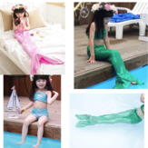 Tjej Little Mermaid Tail Bikini Set Swimmable Simning Princess Kostym Baddräkt