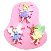 3 Elf Angel Silicone Fondant Mould Chocolade Polymer Clay Mould