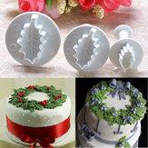 3X Natale agrifoglio foglia torta taglierina del biscotto muffa sugarcraft di decorazione