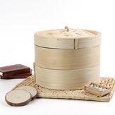 2 Tier Bamboo Steamer Dim Sum Basket Nasi Pasta Dapur Alat Mengukus Makanan