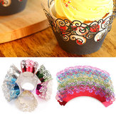 12pcs 7 couleurs en filigrane tasse gâteau wrappers Wrap cas mariage anniversaire Party Supplies
