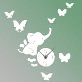 Elephants Schmetterlings Wand Aufkleber der Farben DIY Spiegel Wanduhr 3D Home Decoration