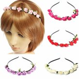 Boho matrimonio festa floreale rosa ghirlanda di fiori band capelli cerchio