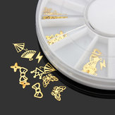 3D Gold Metal DIY Nail Art Decoratie Sticker Wiel