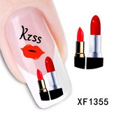 Red Lip Lipstick Pattern Water Decal Transfer Nail Sticker