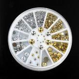 6 tailles d'argent goujons rondes métalliques d'or nail art de la roue de la décoration