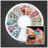 2mm Fluorescentie Kleur Ronde Metalen Stud DIY Nail Art Decoration Wheel