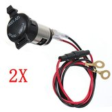 2Pcs 12V 120W Car Motorcycle Bike Tractor Socket