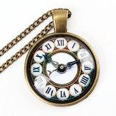Vintage Bronze Glass Cabochon US UK Κολιέ κρεμαστό ρολόι με σημαία