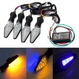4pcs moto ambra e blu 12 LED s indicatori di direzione luce spia con relè lampeggiatore