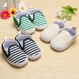 Niño del bebé infantiles caminantes raya naval suelas suaves zapatos de cuna