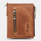 Men Bifold RFID Anti-theft Genuine Leather Wallets Short Large Capacity Multi-card Slot Card Holder Coin Purse Money Clip
