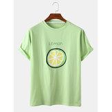 Camisetas de manga corta para hombre Cuello Cartoon Fruit Print Crew para hombre