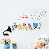 Hayvanlar Müzik DIY Duvar Çıkartmaları Çocuklar için Bebek Odası Kreş Ev Dekor Duvar Sanatı Duvar Kağıdı