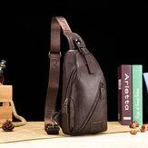Bullcaptain جلد طبيعي حقيبة الصدر حقيبة كتف حقيبة كروسبودي للرجال
