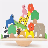 Wooden Forest Stacking Animals Seesaw Building Blocks Balance Game Kids Science Educational Toys