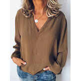 Women Long Sleeve V Neck Casual Loose Solid Blouse
