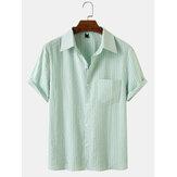 メンズ縦縞ホリデースタイルラペル襟半袖シャツ