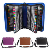 160 Slots PU Art Pencil Case Cosmetic Makeup Bag Storage Papeterie Zipper Pouch
