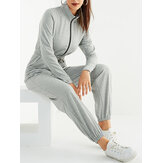 Women Solid Color Zipper Drawstring Pocket Long Sleeve Sports Casual Jumpsuit