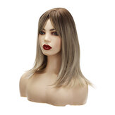 16 inch Brown Roots Ombre Ash Blonde Synthetic Hair Wigs for Women Short BoB Layered Wig