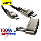 Baseus 2 In 1 100W 5A USB-C to USB-C PD3.0 / USB-C to DC Cable BPS Fast Charging Data Transmission Cord For Laptops Smart Phones