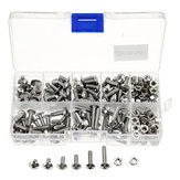 Suleve™ M4SP1 M4 Stainless Steel Phillips Round Head Screws Bolts Nuts Assortment Kit 250Pcs