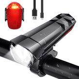 BIKIGHT 320LM phare de vélo + 120LM feu arrière 3 modes lampe de guidon avant réglable USB charge lampe de poche étanche