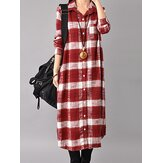 Casual Women Long Sleeve Button Down Plaid Shirt Dress