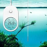 Acqua per acquario elettronico 3 in 1 Termometro Igrometro LCD Display Mini adesivo per temperatura dell'acqua con sonda Acquario per la casa Alta precisione Termometro Igrometro per acquario Accessori
