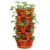 Jardinière empilable Pots Garden Outdoor Fraise Herb Flower Vegetable Vertical Garden Decorations