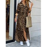 Women Leopard Print Lapel Long Sleeve Side Pockets Shirt Maxi Dress
