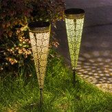 2Pcs Solar Powered LED Garden Hollowed Light Floor Decking Patio Decor Yard Lamp