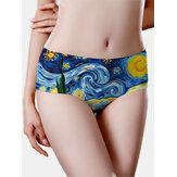 Nahtloses Damen Ölgemälde Starry Sky Print Mid Waisted Breathable Panties
