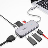 BlitzWolf® BW-TH5 7 in 1 USB-C Data Hub with 3-Port USB 3.0 TF Card Reader USB-C PD Charging 4K Display USB Hub for MacBooks Notebooks Pros