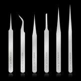 NEWACALOX 6 Pcs Pinças de Aço Inoxidável Pinças Anti-Estáticas Industriais Kit Pinças de Precisão Não-magnéticas para o Trabalho de Jóias de Laboratório