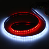 12V 144 LED Car Door Warning Light Strips White Keep Bright Red Strobe Flashing 120cm Atomosphere Safety Lights