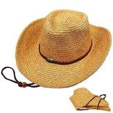 Unisex Panama Cowboy de paja plegable Sombrero Classic Western Playa Sun Wide Brim Bucket Caps