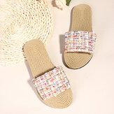 حذاء نسائي كاجوال منسوج Soft نعل منزلق بدون كعب